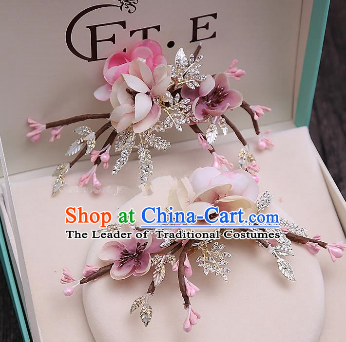 Top Grade Handmade Wedding Bride Hair Accessories Pink Flowers Hair Claw Hairpins, Traditional Baroque Princess Hair Stick Headpiece for Women