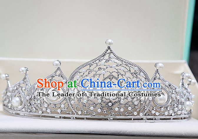 Top Grade Handmade Wedding Hair Accessories Bride Pearl Crown, Traditional Baroque Princess Crystal Royal Crown Wedding Headwear for Women