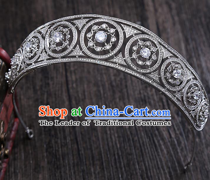 Top Grade Handmade Wedding Hair Accessories Bride Vintage Diamante Crown, Traditional Baroque Queen Crystal Royal Crown Wedding Headwear for Women
