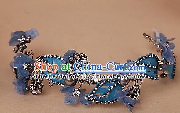 Top Grade Handmade Wedding Bride Hair Accessories Blue Headband Hair Clasp, Traditional Baroque Princess Crystal Hair Stick Headpiece for Women