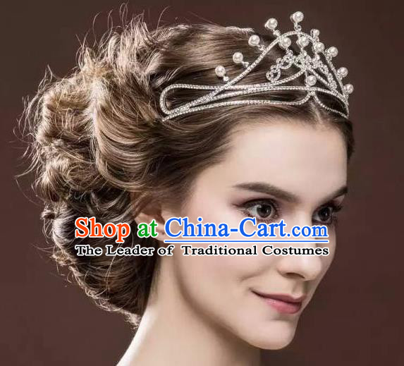 Top Grade Handmade Wedding Hair Accessories Bride Pearl Crown, Traditional Baroque Princess Royal Crown Wedding Headwear for Women