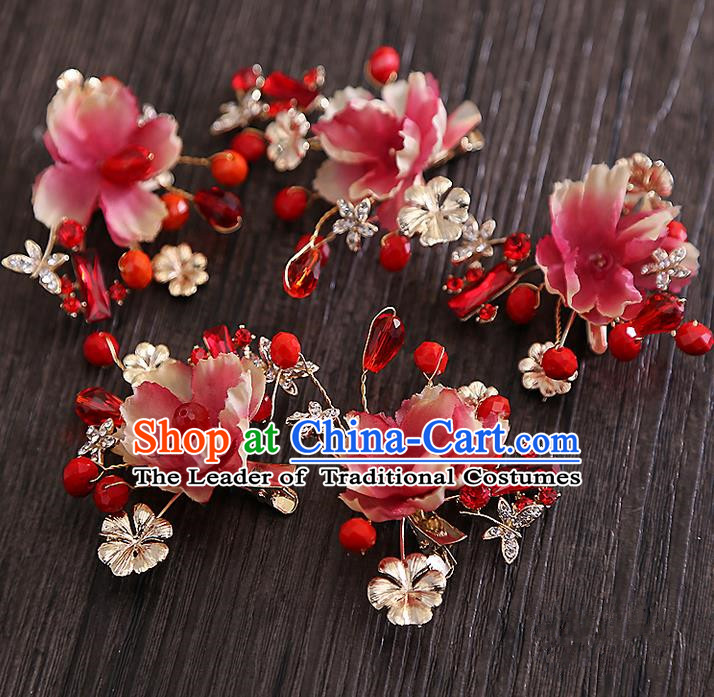 Top Grade Handmade Wedding Bride Hair Accessories Red Beads Headband Hair Claw, Traditional Baroque Princess Hair Stick Headpiece for Women
