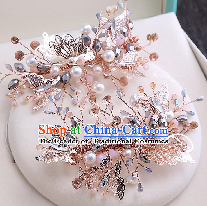 Top Grade Handmade Wedding Bride Hair Accessories Butterfly Hair Claw, Traditional Baroque Princess Pearl Hair Stick Headpiece for Women