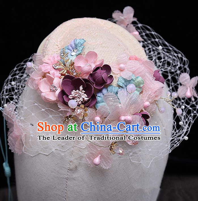 Top Grade Handmade Wedding Hair Accessories Bride Flower Veil Hat, Traditional Baroque Princess Top Hat Headpiece for Women