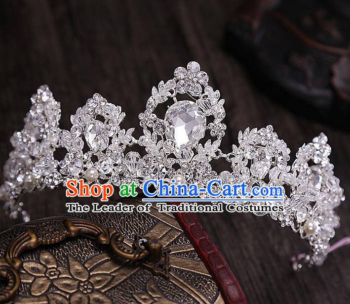 Top Grade Handmade Wedding Hair Accessories Bride Vintage Crystal Crown, Traditional Baroque Princess Zircon Royal Crown Wedding Headwear for Women
