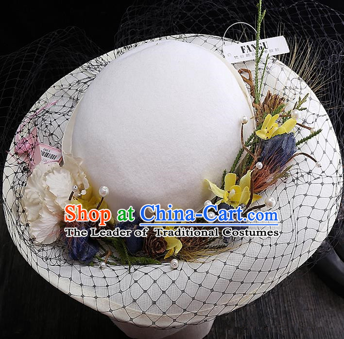Top Grade Handmade Wedding Bride Hair Accessories Flowers Sunhat, Traditional Princess Baroque Topee Headpiece for Women