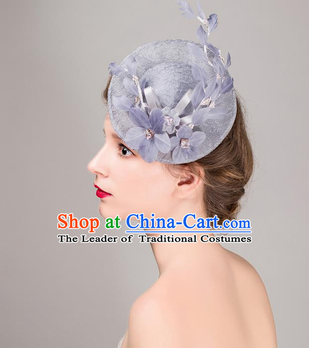 Top Grade Handmade Wedding Bride Hair Accessories Grey Top Hat, Traditional Princess Baroque Flowers Hat Headpiece for Women