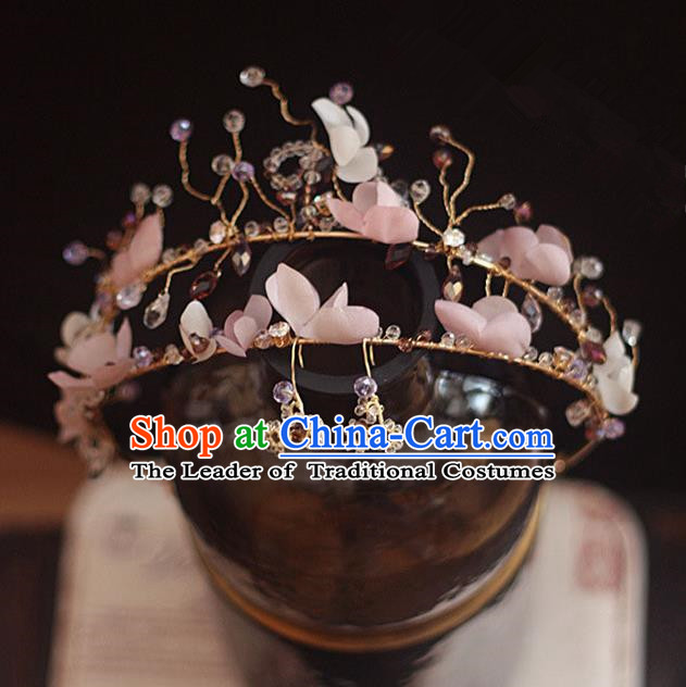 Top Grade Handmade Wedding Bride Hair Accessories Princess Pink Flowers Hair Clasp and Earrings, Traditional Princess Baroque Hair Clip Headpiece for Women