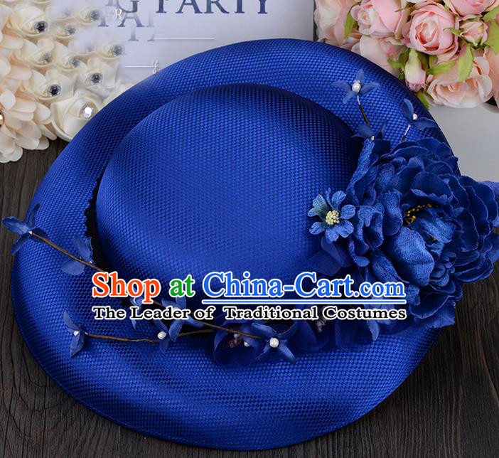 Top Grade Handmade Wedding Bride Hair Accessories Princess Royalblue Top Hat, Traditional Princess Baroque Flowers Hat Headpiece for Women
