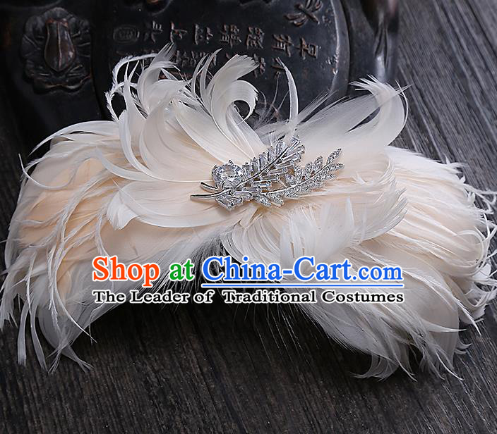 Top Grade Handmade Wedding Bride Hair Accessories Princess Pink Feather Hair Claw, Traditional Baroque Hair Stick Headpiece for Women