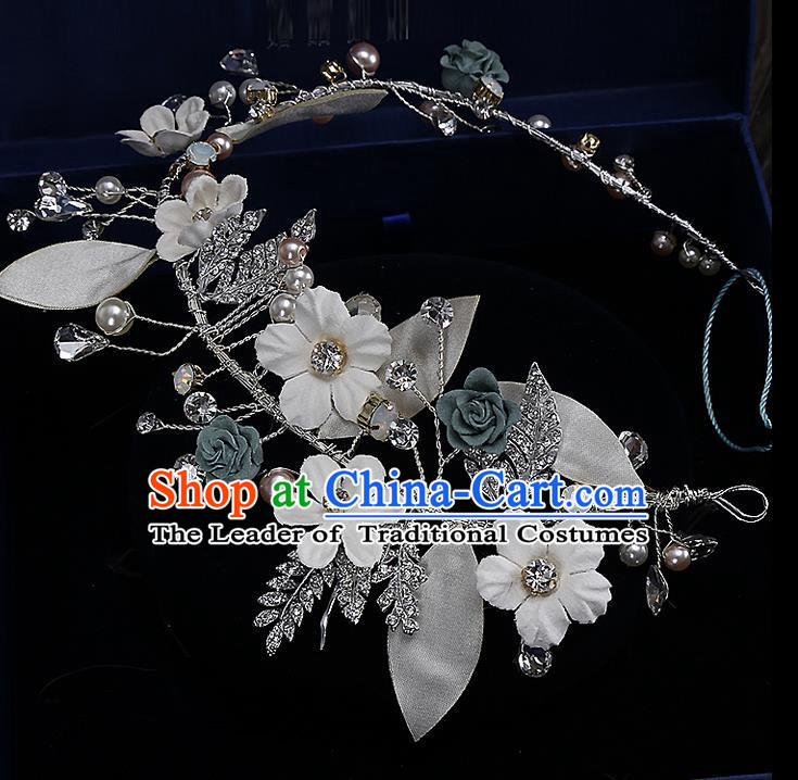 Top Grade Handmade Wedding Bride Hair Accessories Princess Flowers Hair Clasp, Traditional Baroque Hair Clip Headband Headpiece for Women