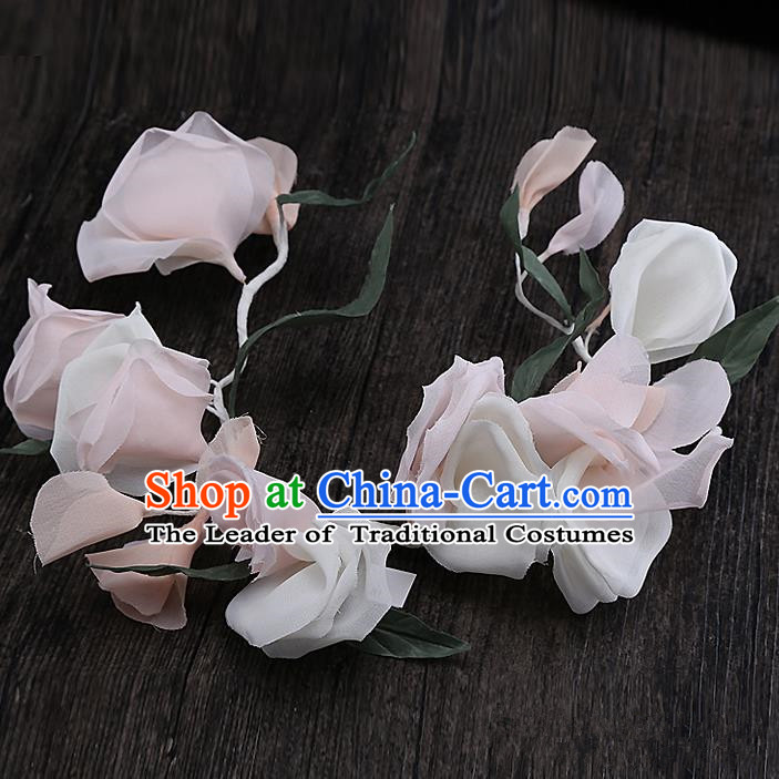Top Grade Handmade Wedding Bride Hair Accessories Hair Clasp, Traditional Baroque Princess Pink Flower Hair Stick Headpiece for Women