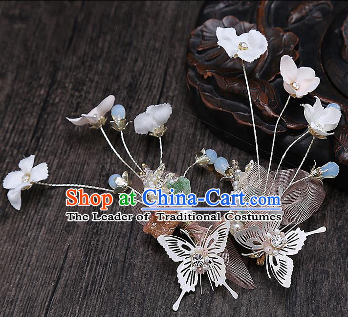 Top Grade Handmade Wedding Bride Hair Accessories Butterfly Hair Claw, Traditional Baroque Princess Hair Stick Headpiece for Women