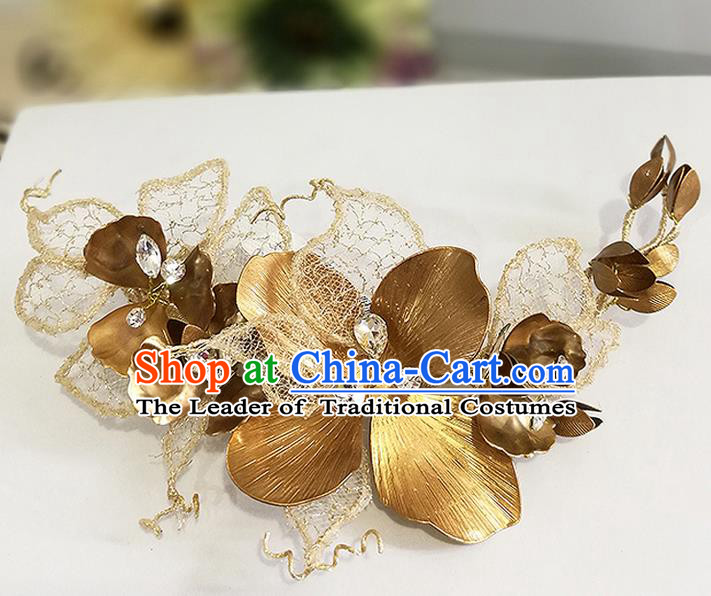 Top Grade Handmade Wedding Bride Hair Accessories Golden Hair Claw, Traditional Baroque Princess Hair Clasp Headpiece for Women