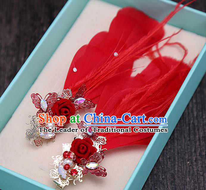 Top Grade Handmade Wedding Bride Hair Accessories Red Feather Hair Claw, Traditional Baroque Princess Hair Stick Headpiece for Women
