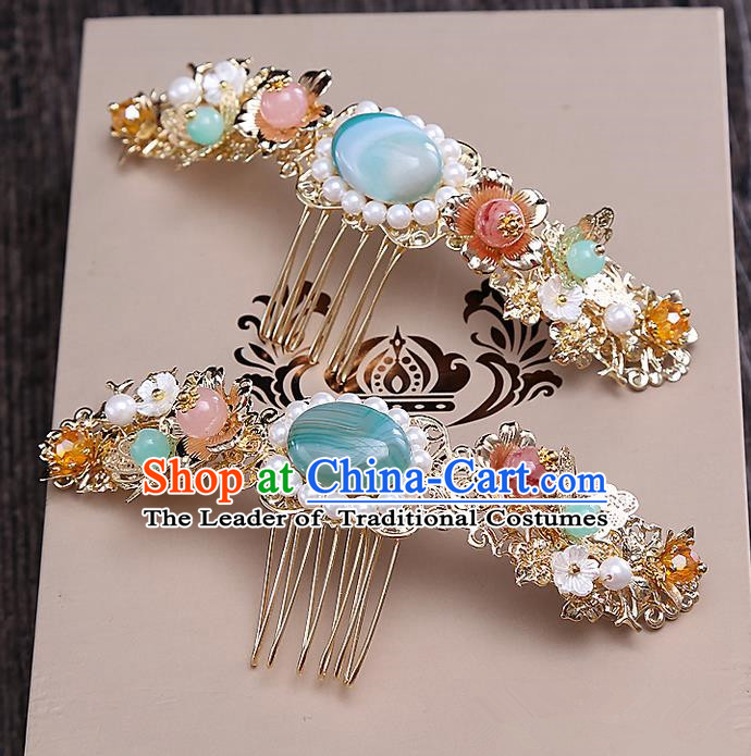 Top Grade Chinese Handmade Wedding Hair Accessories Hair Comb, Traditional China Xiuhe Suit Bride Step Shake Hairpins Headdress for Women