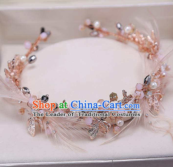 Top Grade Handmade Wedding Bride Hair Accessories Pink Hair Clasp, Traditional Baroque Princess Headband Headpiece for Women