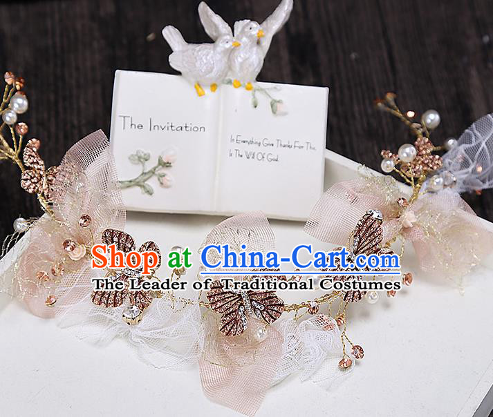 Top Grade Handmade Wedding Bride Hair Accessories Butterfly Hair Clasp, Traditional Baroque Princess Headband Headpiece for Women