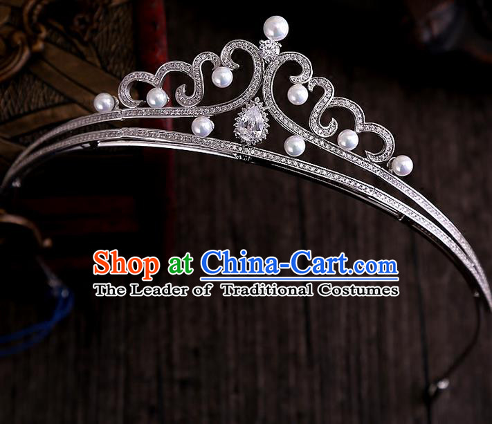 Top Grade Handmade Wedding Hair Accessories Bride Vintage Diamante Crown, Traditional Baroque Princess Crystal Pearl Royal Crown Wedding Headwear for Women
