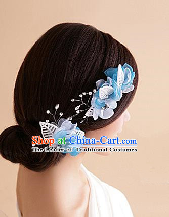 Top Grade Handmade Wedding Bride Hair Accessories Blue Hair Claw, Traditional Baroque Princess Crystal Hair Stick Headband Headpiece for Women