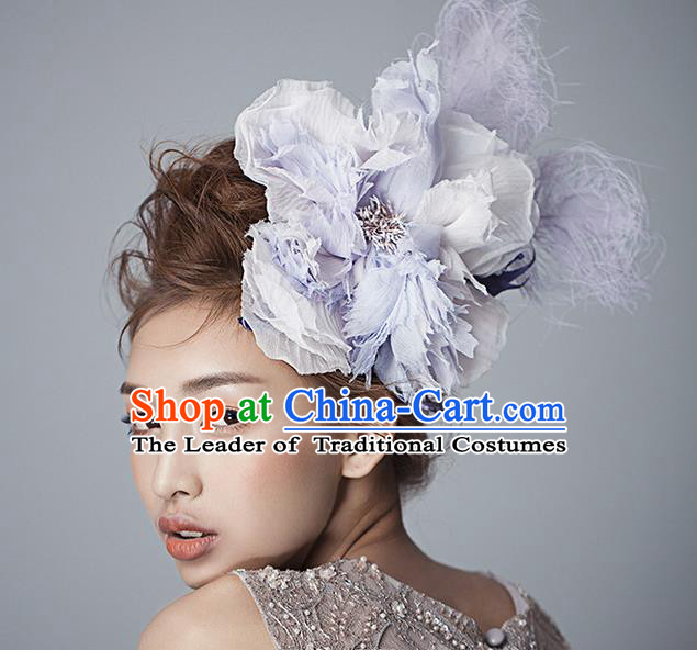 Top Grade Handmade Wedding Bride Hair Accessories Purple Flower Hairpin, Traditional Baroque Princess Hair Stick Headband Headpiece for Women