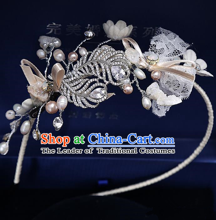 Top Grade Handmade Wedding Bride Hair Accessories Crystal Hair Clasp, Traditional Baroque Princess Hair Stick Headband Headpiece for Women