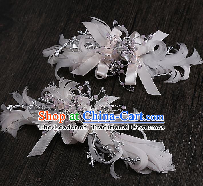 Top Grade Handmade Wedding Bride Hair Accessories Crystal Hair Claw, Traditional Baroque Princess Hair Stick Headpiece for Women