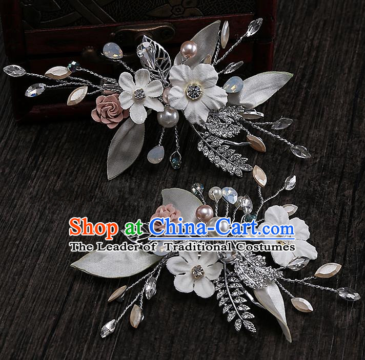 Top Grade Handmade Wedding Hair Accessories Bride Flower Hair Clip, Traditional Baroque Princess Crystal Hair Claw Headpiece for Women
