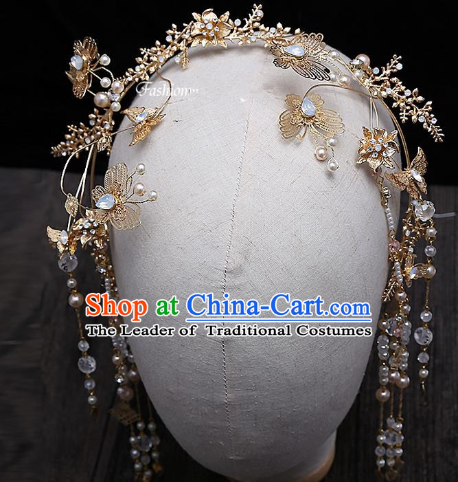 Top Grade Chinese Handmade Wedding Hair Accessories, Traditional China Xiuhe Suit Bride Tassel Hair Clasp Step Shake Headdress for Women