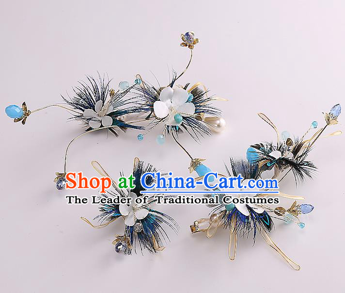 Top Grade Handmade Wedding Dragonfly Hair Accessories Bride Flowers Hair Claw, Traditional Baroque Princess Headband Hair Stick Headpiece for Women