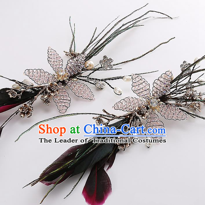 Top Grade Handmade Wedding Dragonfly Hair Accessories Bride Hair Claws, Traditional Baroque Princess Feather Hair Stick Headpiece for Women
