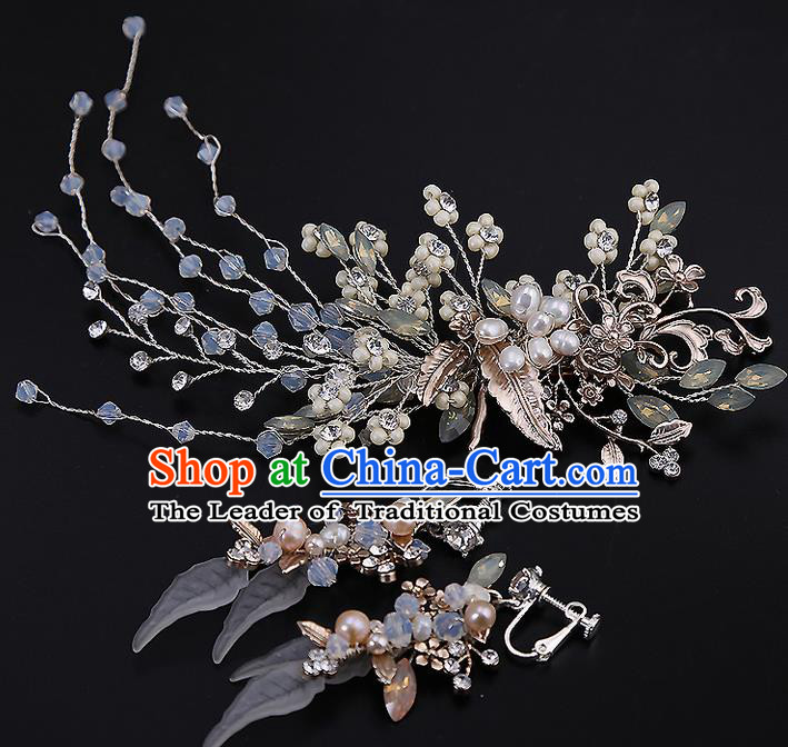 Top Grade Handmade Wedding Dragonfly Hair Accessories Bride Flowers Hair Claw and Tassel Earrings, Traditional Baroque Princess Hair Stick Headband Headdress for Women