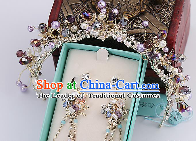 Top Grade Handmade Wedding Dragonfly Hair Accessories Bride Purple Hair Claw and Tassel Earrings, Traditional Baroque Princess Hair Stick Headband Headdress for Women