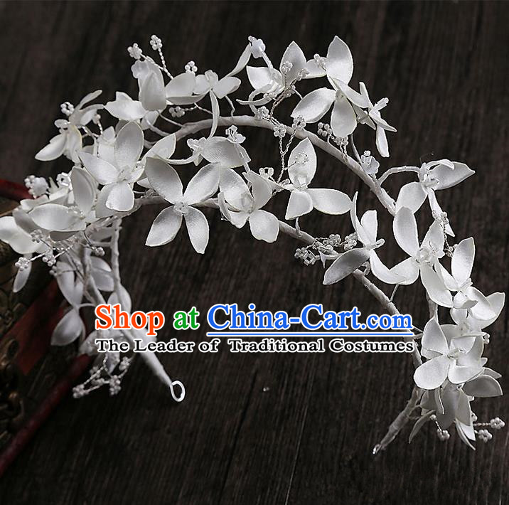 Top Grade Handmade Wedding Dragonfly Hair Accessories Bride Flowers Hair Clasp, Traditional Baroque Princess Crown Headband Headpiece for Women