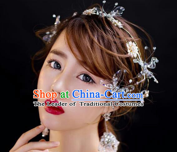 Top Grade Handmade Wedding Hair Accessories Bride Crystal Headband Butterfly Hair Clasp, Traditional Baroque Princess Headdress for Women