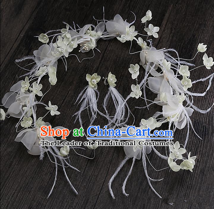 Top Grade Handmade Wedding Dragonfly Hair Accessories Bride White Hair Clasp, Traditional Baroque Princess Hair Stick Headband Headdress for Women