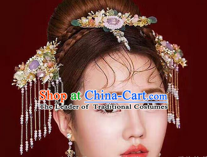 Top Grade Chinese Handmade Wedding Jade Hair Accessories Hair Combs, Traditional China Xiuhe Suit Bride Tassel Headdress Hairpins Complete Set for Women