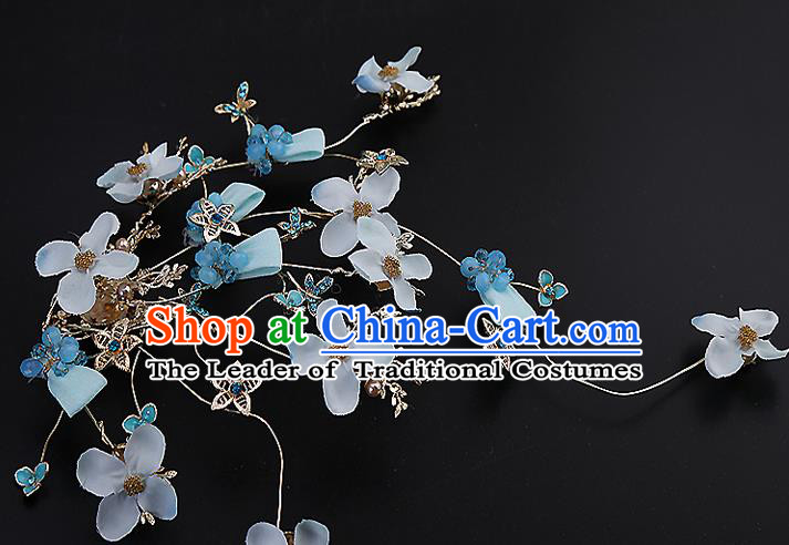 Top Grade Handmade Wedding Hair Accessories Bride Blue Hair Claw, Traditional Baroque Princess Hair Stick Headdress for Women