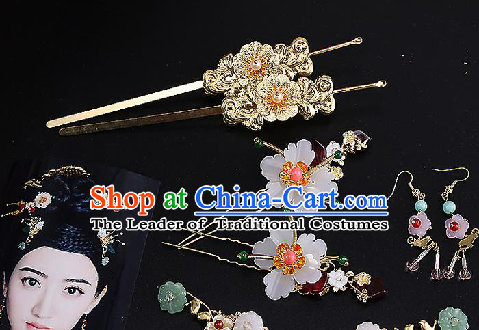 Top Grade Chinese Handmade Wedding Hair Accessories, Traditional China Xiuhe Suit Bride Hairpins Complete Set for Women