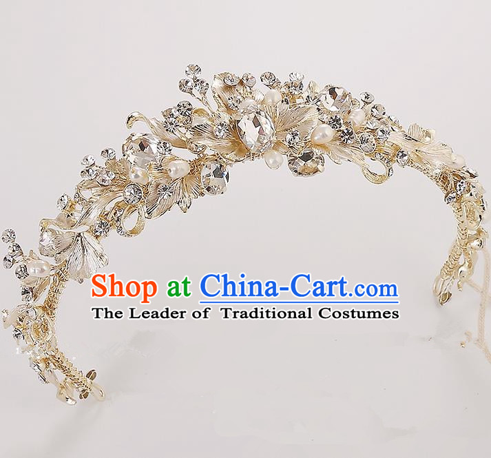 Top Grade Handmade Wedding Hair Accessories Bride Princess Crystal Hair Clasp, Traditional Baroque Royal Crown Wedding Headwear for Women