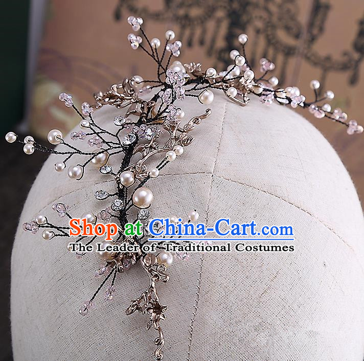 Top Grade Handmade Wedding Dragonfly Hair Accessories Bride Hair Clasp, Traditional Baroque Princess Pearl Headband Hair Stick Headpiece for Women