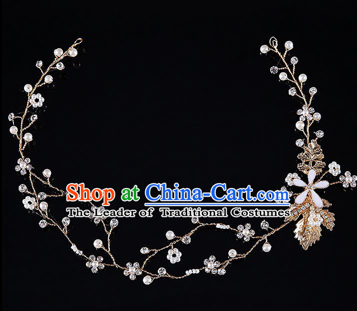 Top Grade Handmade Wedding Dragonfly Hair Accessories Bride Golden Hair Clasp, Traditional Baroque Princess Headband Headdress for Women