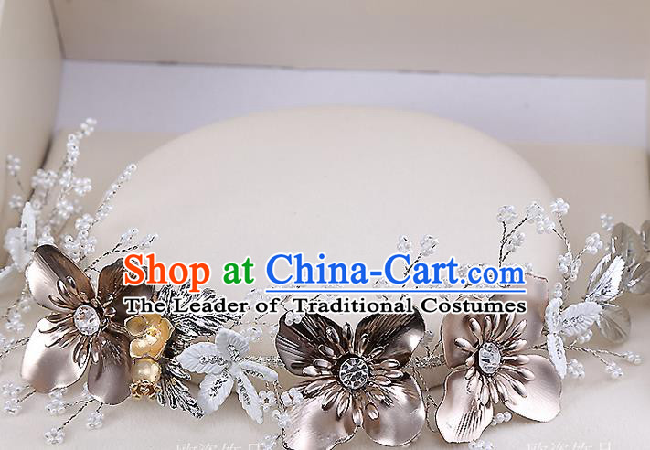 Top Grade Handmade Wedding Dragonfly Hair Accessories Bride Golden Hair Clasp, Traditional Baroque Princess Flowers Headband Headdress for Women