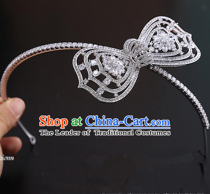 Top Grade Handmade Wedding Dragonfly Hair Accessories Bride Bowknot Hair Clasp, Traditional Baroque Princess Zircon Hair Clip Headband Headdress for Women