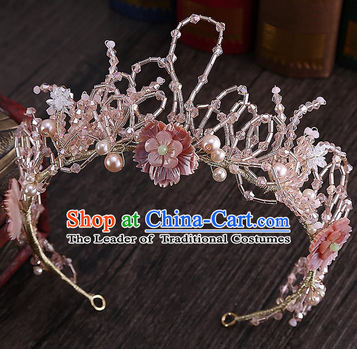 Top Grade Handmade Wedding Dragonfly Hair Accessories Bride Pearl Hair Stick, Traditional Baroque Princess Pink Hair Clasp Headband Headdress for Women