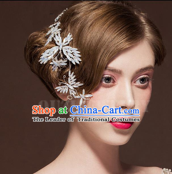 Top Grade Handmade Wedding Dragonfly Hair Accessories Bride Butterfly Hair Stick, Traditional Baroque Princess Hair Clasp Headband Headdress for Women