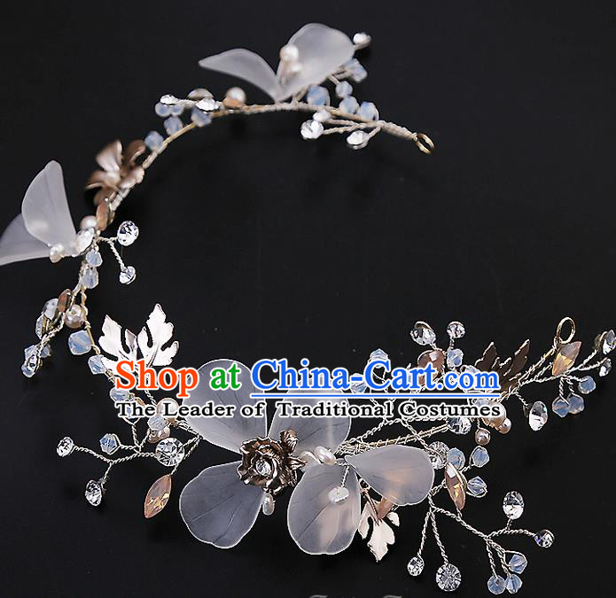 Top Grade Handmade Wedding Dragonfly Hair Accessories Bride Hair Clip, Traditional Baroque Princess Hair Clasp Headband Headdress for Women