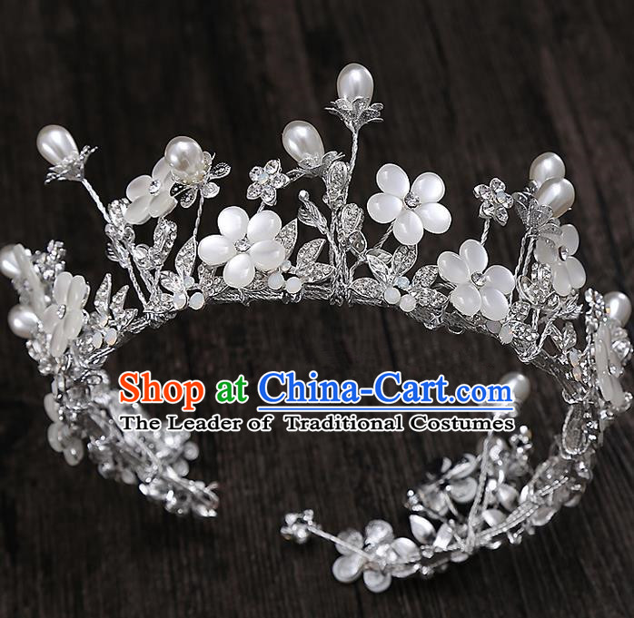 Top Grade Handmade Wedding Hair Accessories Bride Princess Imperial Crown Hair Clip, Traditional Baroque Royal Crown Wedding Headwear for Women