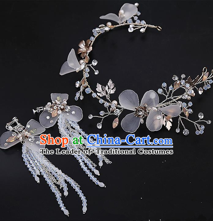 Top Grade Handmade Wedding Dragonfly Hair Accessories Bride Hair Clasp and Earrings, Traditional Baroque Princess Hair Stick Headband Headdress for Women