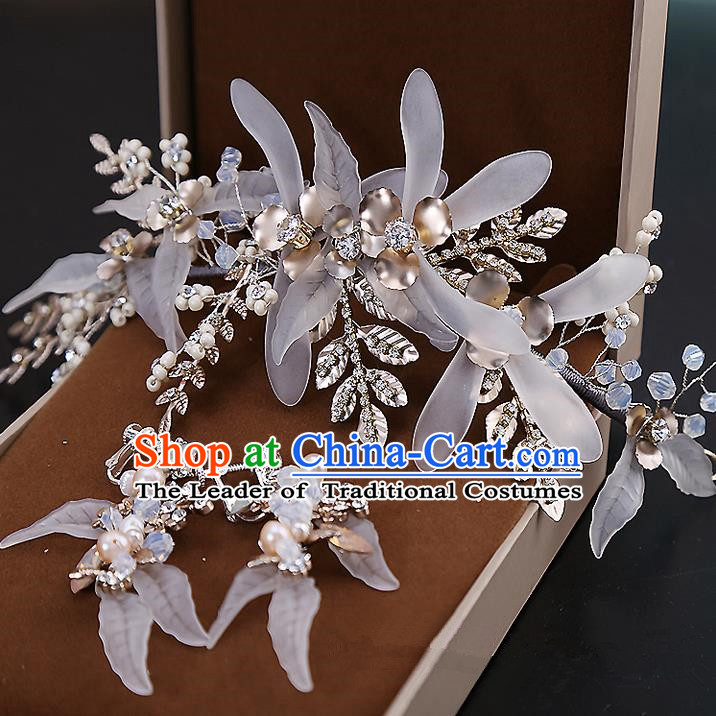 Top Grade Handmade Wedding Dragonfly Hair Accessories Bride Crystal Hair Clasp and Earrings, Traditional Baroque Princess Hair Stick Headband Headdress for Women